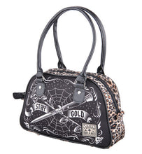 Load image into Gallery viewer, Stay gold Rockabilly dagger rose tattoo leopard bowling retro handbag