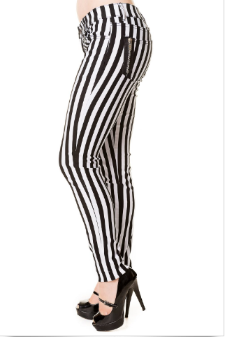 Striped Gothic punk skinny jeans Unisex - red stripe or white stripe