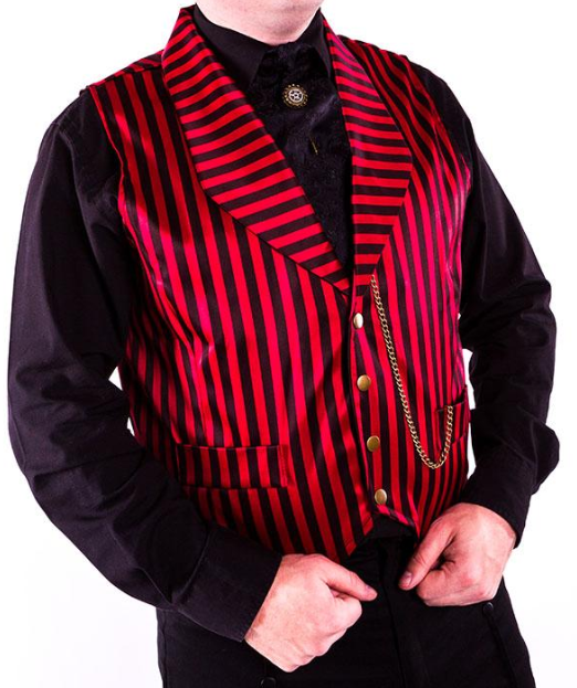 Gothic Steampunk classic stripe waistcoat - red or white