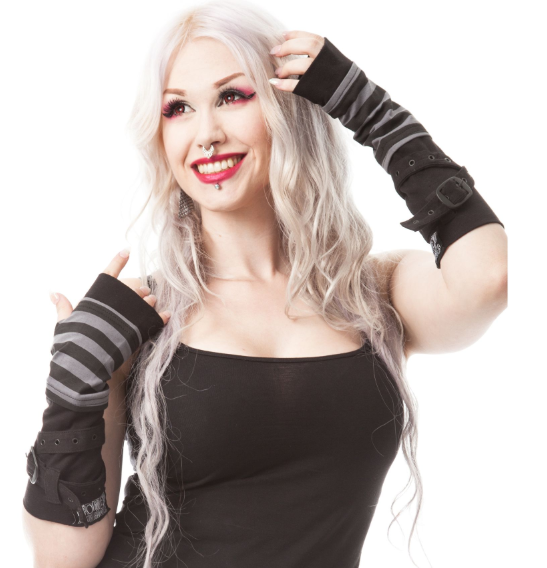 Stripe strap Gothic Punk Buckle long armwarmers gloves