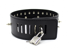 Load image into Gallery viewer, Gothic spiked punk collar studded choker and leash - black
