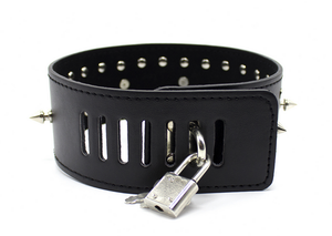 Gothic spiked punk collar studded choker and leash - black