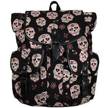Load image into Gallery viewer, Sugar Skull woven canvas large backpack bag
