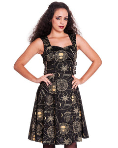 Tabitha Gothic occult print buckle dress