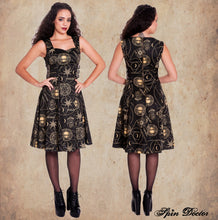 Load image into Gallery viewer, Tabitha Gothic occult print buckle dress