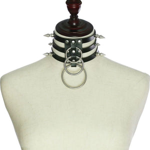 Metallic Spike O-Ring triple layer punk gothic collar choker