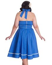 Load image into Gallery viewer, Vanda blue polka dot swing dress- plus size 2XL