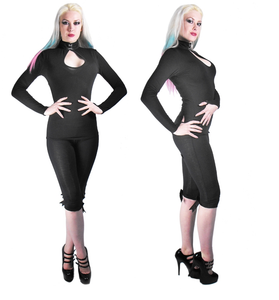 Keyhole collar gothic jersey pointed glove top - Plus size