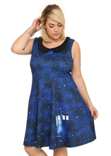 Load image into Gallery viewer, Retro pinup Tardis Galaxy Dr Who Dress LIMITED EDITION (PLUS SIZE)