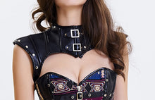 Load image into Gallery viewer, Black gothic studded buckle PU Collar shoulder Harness