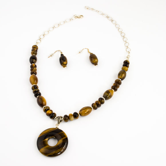 Tiger Eye Donut Pendant Necklace Set