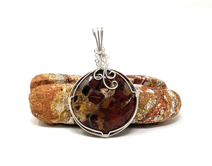 Breciated Jasper Wire Wrapped Pendant 2 - Round