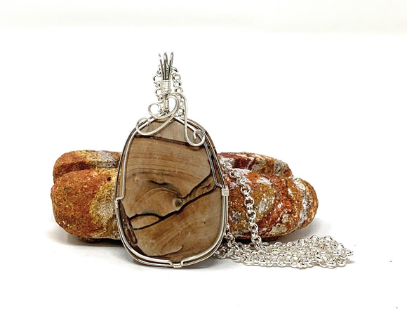 picture jasper oval wire wrapped pendant