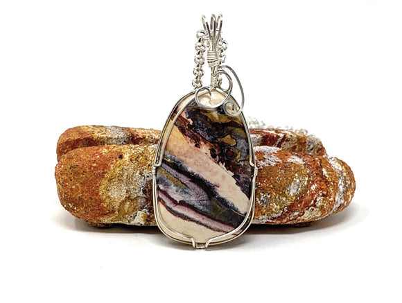 porcelain jasper wire-wrapped pendant