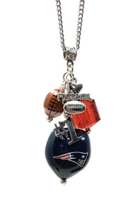 NE Patriots Football Necklace with Charms