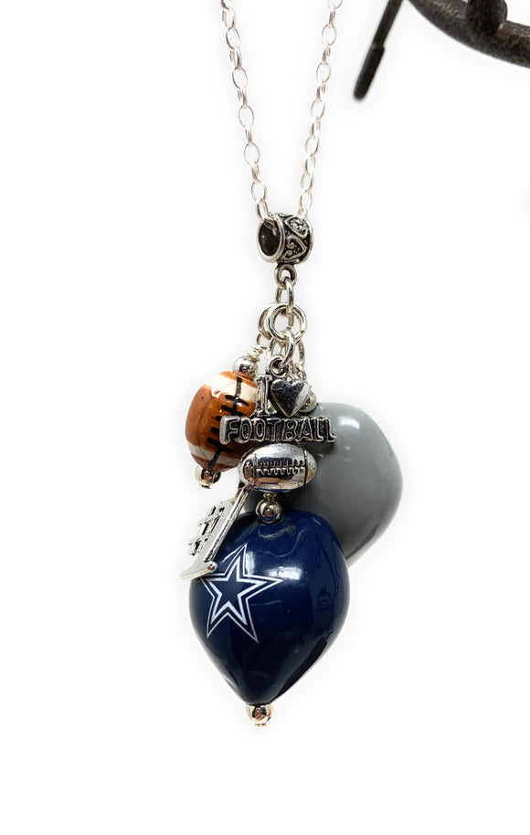 Cowboys Football Necklace with Charms