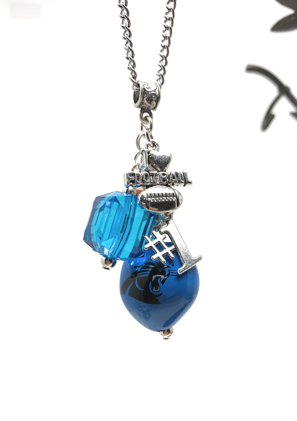 NC Panther Football Necklace with Charms