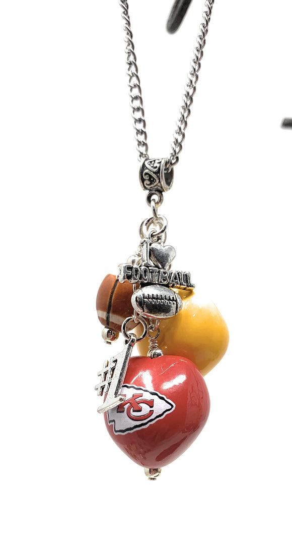 KC Chiefs Football Necklace with Charms