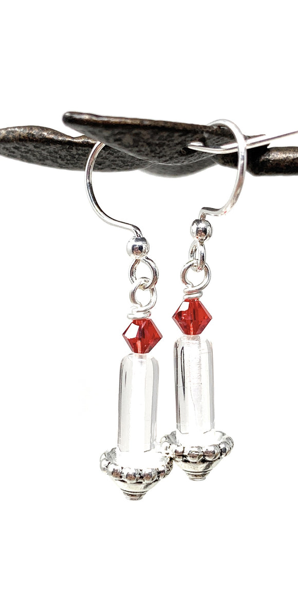 Christmas Candlestick Earrings - Clear