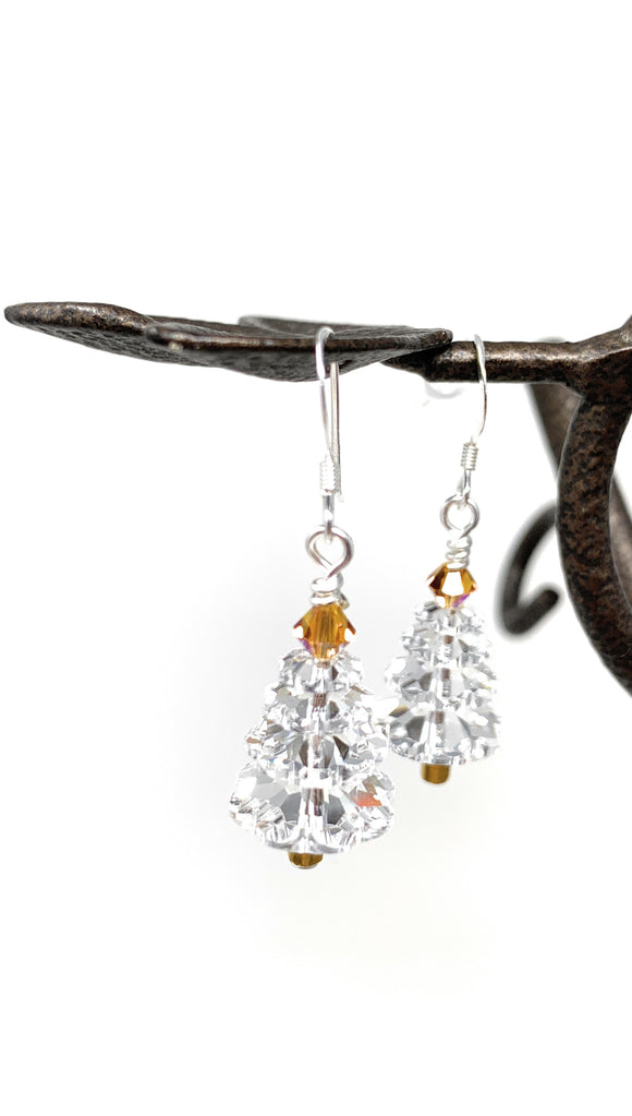 Christmas Tree Earrings - Clear Crystal  with Topaz