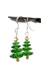 Christmas Tree Earrings - Fern Green with Topaz