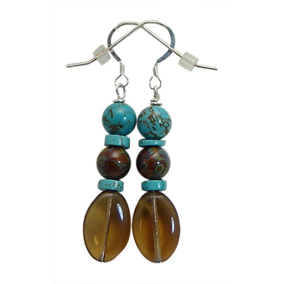 Turquoise and Brown Glass Earrings