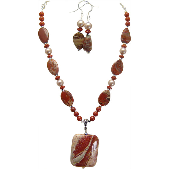 Rainbow Jasper Pendant Necklace Set