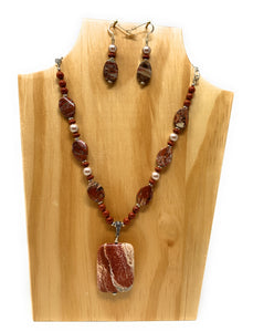 Rainbow Jasper Red Stone Necklace Set