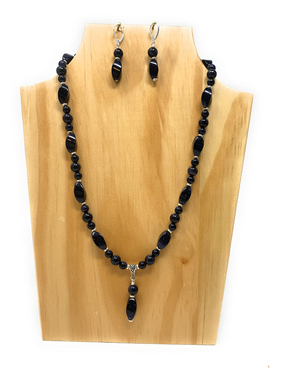 Blue Goldstone Twisted Pendant Set