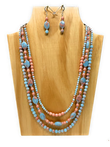 Powder Blue Impression Jasper Triple Strand Necklace Set