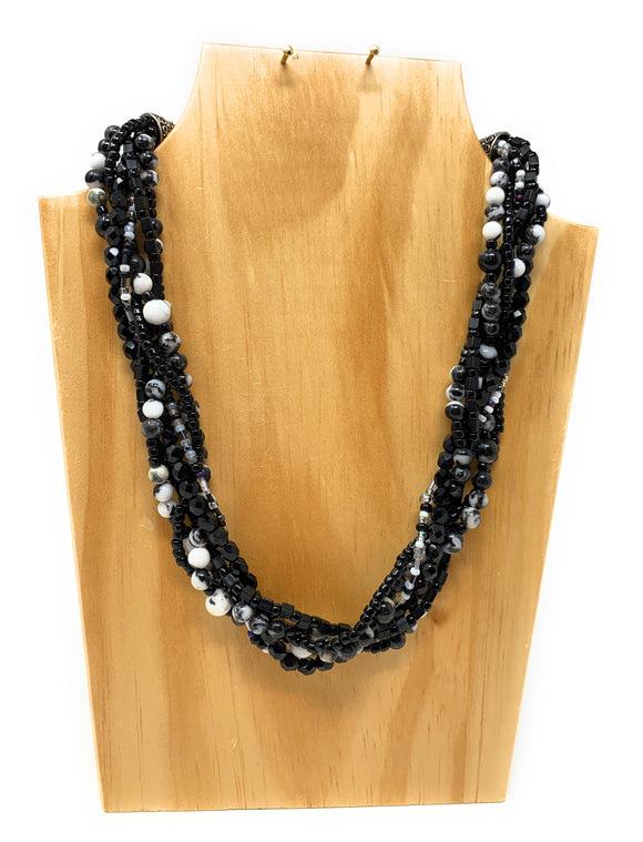 Mexican Jasper and Onyx Braided Necklace Set