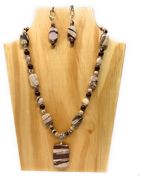 Brown Stone Zebra Pendant Set