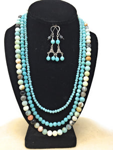 Amazonite Triple Strand Necklace Set