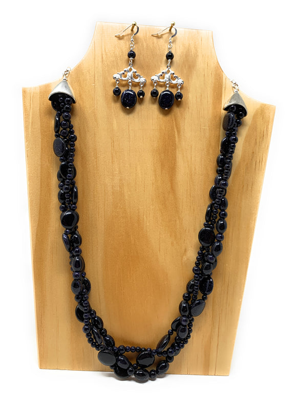 Blue Goldstone Braided Triple Strand Necklace Set