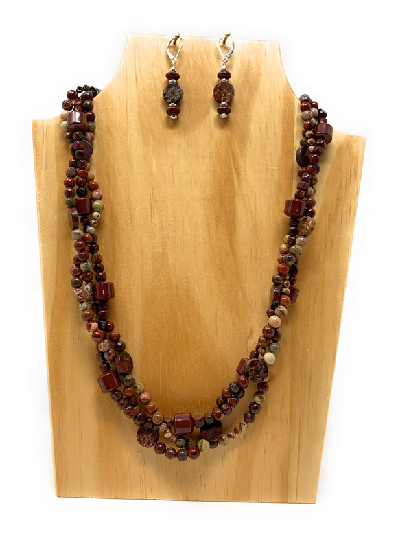 Brecciated Red Jasper Braided Multistrand Necklace Set