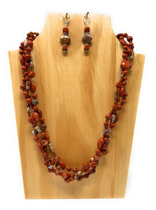 Rainbow Jasper  Braided Red Stone Necklace Set
