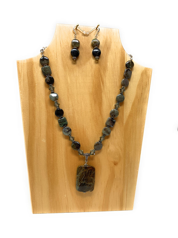 Snakeskin Jasper Gray Stone Necklace Set