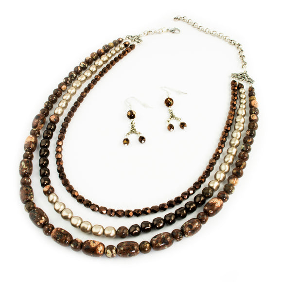 Mica Quartz and Almond Pearl Triple Strand Necklace Set