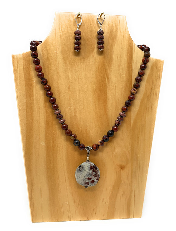 Red Picture Jasper Red Stone Necklace Set