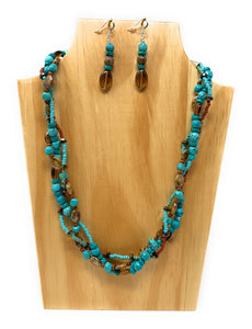 Turquoise and Brown Glass Braided  Necklace Set