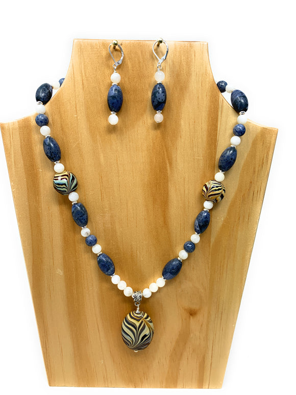 Blue Coral and Moonstone Pendant Set