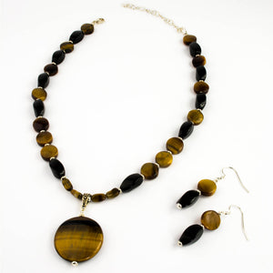 Tiger Eye and Onyx Pendant Set