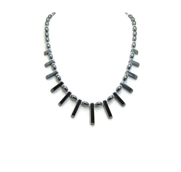 Hematite Fan Necklace Set