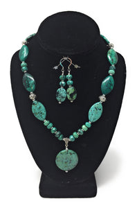 African Turquoise Pendant Set