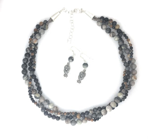 Picasso Jasper Braided  Necklace Set