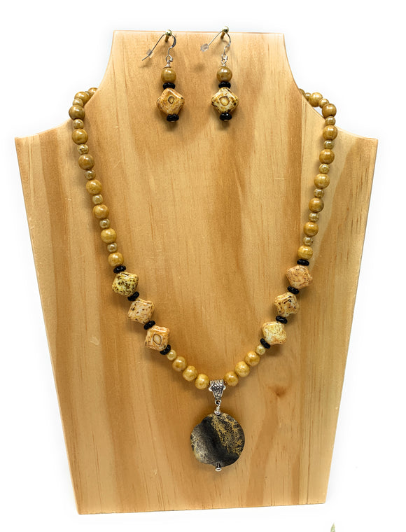 Gold Czech Glass and Picture Jasper Necklace Set