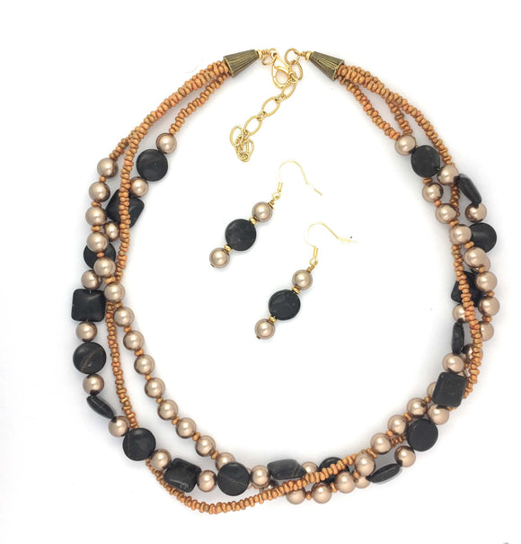 Gold Obsidian and Bronze Pearl Braided  Necklace Set