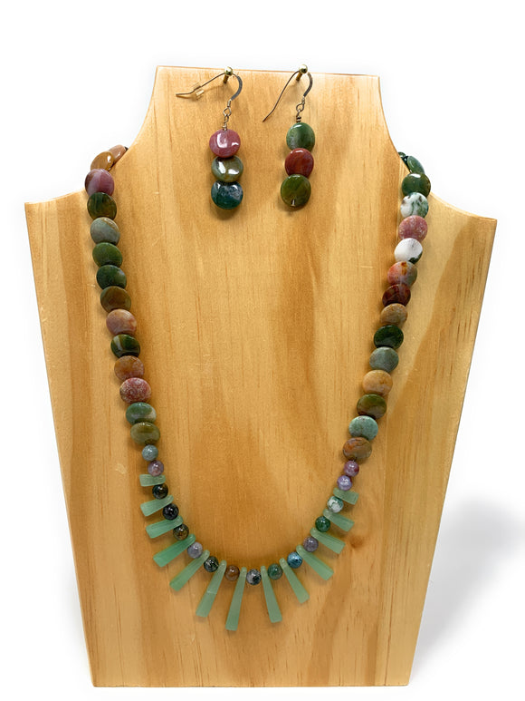 Fancy Jasper and Aventurine Necklace Set