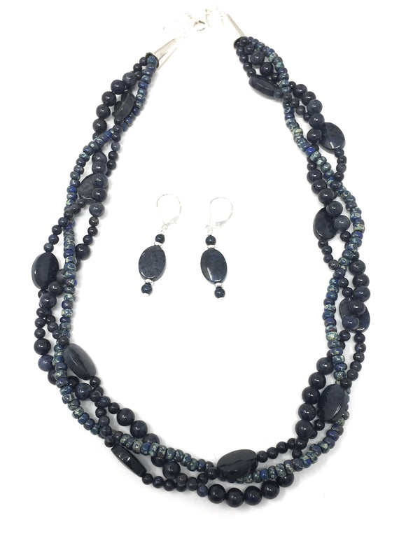 Navy Blue Dumortierite Braided Necklace Set
