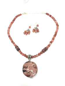 Peach Moonstone and Picture Jasper Pendant Necklace Set